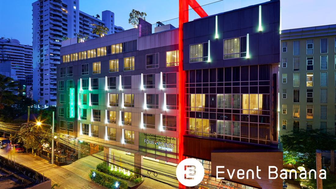 ภาพตัวอาคารโรงแรม Four Point จุดเด่นด้วยเส้นสายสีแดงงทอดยาว